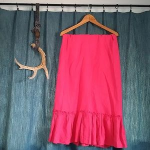 Hot Pink Long Ruffle Skirt